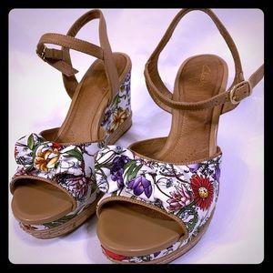Clark's cork heeled floral strap heel
